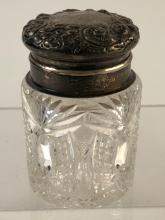 Antique Cut Glass Vanity Biscuit Jar Sterling Lid