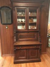 1800's Eastlake Fall Front Walnut Secretary Desk