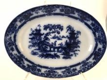 Antique Flow Blue Large Oval Platter