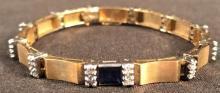 14 K Bracelet - Diamonds & Sapphire