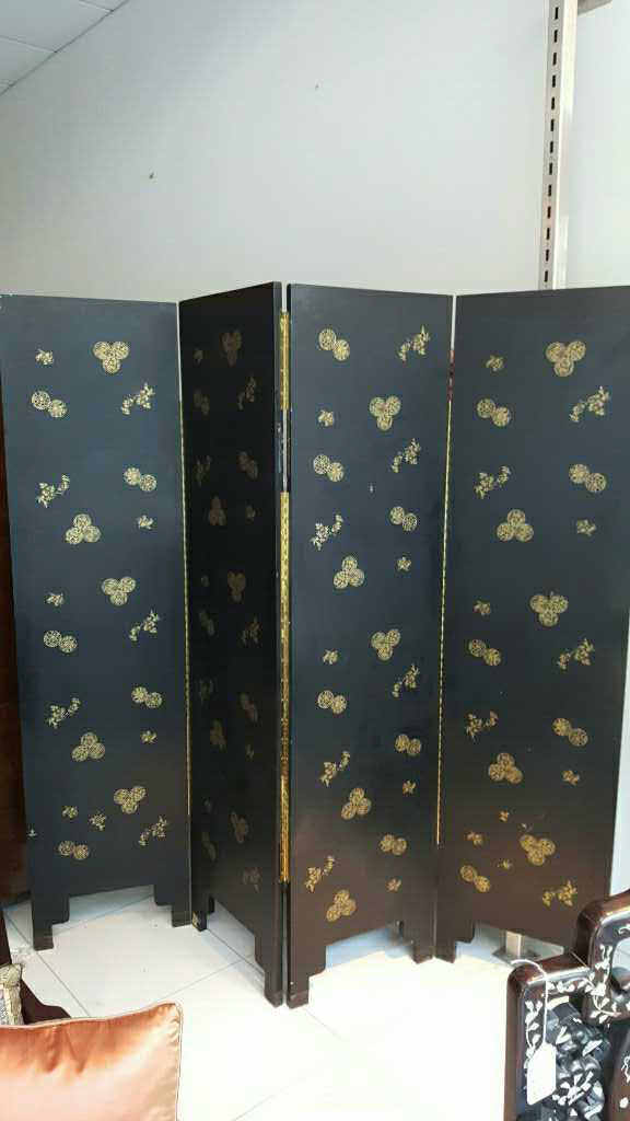 Four-Panel Dressing Screen - Asian Design