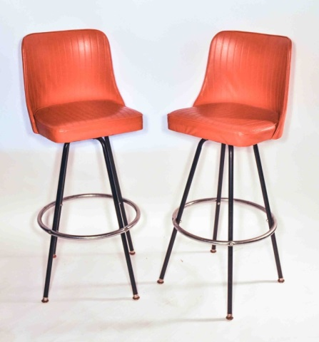 Mid Century Retro Orange Atlas Swivel Bar Stools