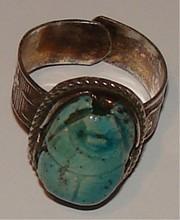Vintage / Antique Ceramic & Silver Scarab Ring