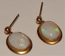 Opal & 14 K Gold Pierced Earring Set