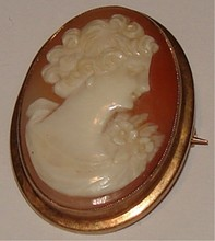 Antique Cameo - Hand Carved Shell - 10K Portrait /