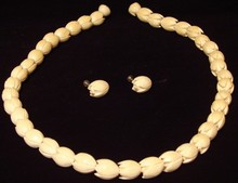 Antique Carved Ivory Necklace & Earring Set - Blos