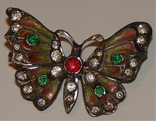 Plique - a - Jour Antique Butterfly Pin - Marked