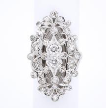 ART DECO PLATINUM 14K GOLD & DIAMONDS RING