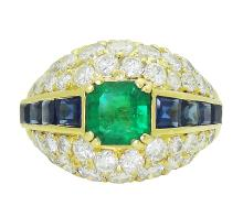 18K Yellow Gold Emerald Diamond and Sapphire Ring