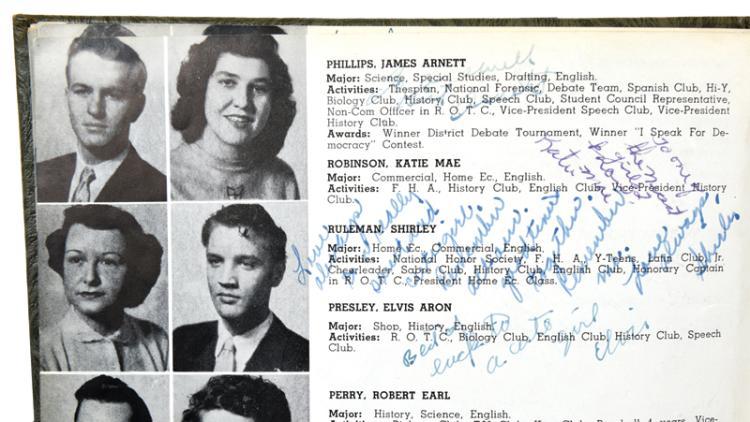Elvis Presley Signed 1953 Humes High School Yearbook