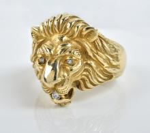 Elvis Presley Owned Gold and Diamond Lion Head Ring Gifted to Charlie Hodge