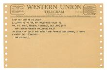 Two Jovial Telegrams from Elvis Presley and Colonel Parker to Colonel H.E. Knox, Production Manager for the 1966 Film <em>Frankie & Johnny</em> with Related Ephemera