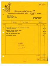 1969 Invoice from IC Costume Company for Elvis Presley