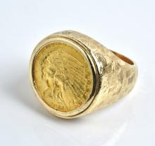 Elvis Presley Owned 1911 $2 1/2 Indian Head Gold Coin Ring Gifted to Charlie Hodge