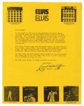 1971 Holiday Letter from Colonel Parker to Elvis Presley's Fans Referencing November Tour