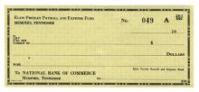 Elvis Presley Payroll and Expense Fund Blank Check
