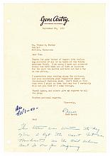 1950 Gene Autry Signed Letter (with Handwritten Postscript) to Colonel Parker -- From the 1999 Graceland Archives Auction