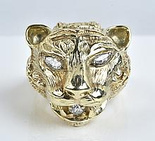 Elvis Presley Owned and Worn Gold and Diamond Panther Head Ring Gifted to Tour Promoter Tom Hulett