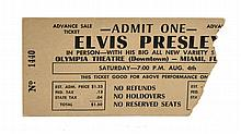 Elvis Presley Concert Ticket from Miami's Olympia Theatre for 7 PM Show, August 4, 1956, with Souvenir Photo Album and Button