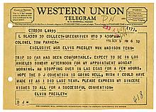 1956 Telegram from Elvis Presley to Colonel Parker, Sent While Elvis Was Traveling to Los Angeles via Las Vegas -- From the 1999 Graceland Archives Auction