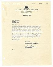 1956 Letter from Harry Kalcheim to Colonel Parker Adjusting <em>Loving You</em> Filming Schedule for Elvis Presley's <em>Ed Sullivan Show</em> Appearance -- From the 1999 Graceland Archives Auction