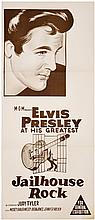 1957 <em>Jailhouse Rock</em> Australian Daybill Movie Poster - Rarely Seen One-Color Version - Starring Elvis Presley