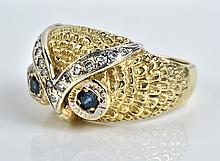 Elvis Presley Owned Diamond and Blue Sapphire Owl Ring - Gifted to Charlie Hodge