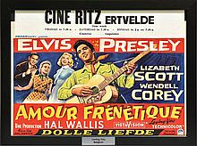 1957 <em>Loving You</em> Belgian Movie Poster - With Local Theatre Snipe - Beautifully Framed - Starring Elvis Presley