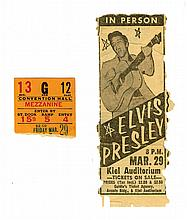 March 29, 1957, Elvis Presley St. Louis, MO Concert Ticket Stub, Souvenir Photo Album, Souvenir Photo and Newspaper Ad