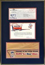 1960 Elvis Presley <em>G. I. Blues</em> Souvenir Paper Hat Sent from Colonel Parker's Office to Fan Club President - with Original Envelope and Letter Signed by Tom Diskin in Framed Display