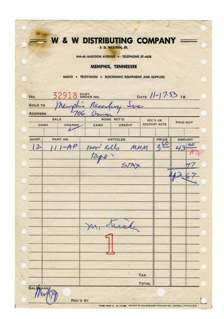 1953 W&W Invoice and Memphis Recording Service Accounting Statement for Recording Tape Possibly Used for Elvis Presley