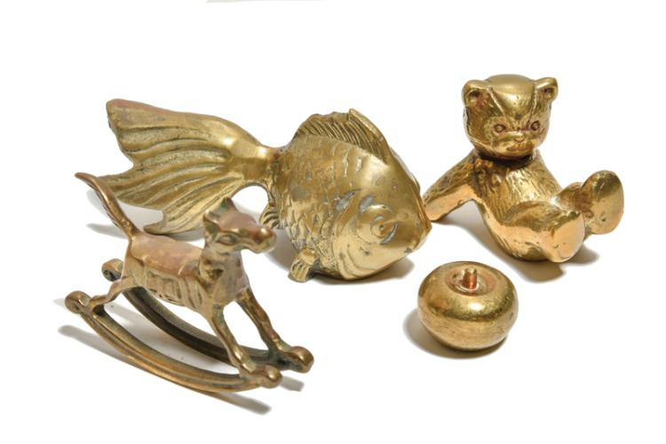 1970s Brass Decorative Figurines and Tray from Elvis Presley's Graceland Billiards Room