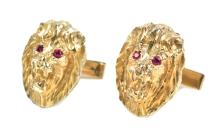Elvis Presley Owned and Worn Ruby Lion Head Cufflinks Given to Bodyguard Sam Thompson