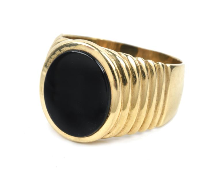August 1974 Elvis Presley Stage-Worn Black Onyx and Gold Ring Given to Friend and Bodyguard Sam Thompson