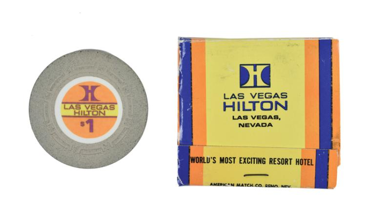 Elvis Presley's Las Vegas Hilton $1 Chip and Matchbook
