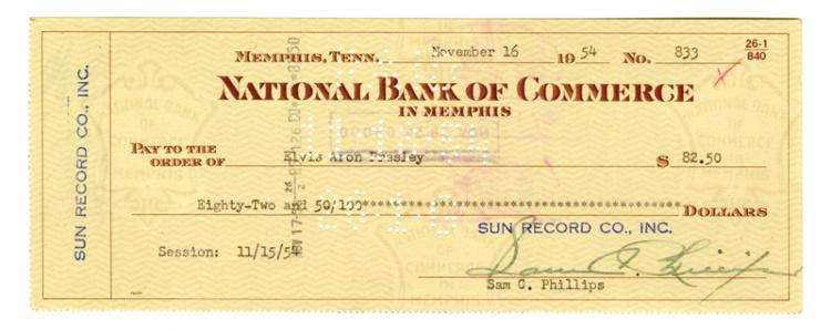 Set of Three Sun Record Co. Checks Written to Elvis Presley, Scotty Moore and Bill Black for November 15, 1954 Recording Session for
