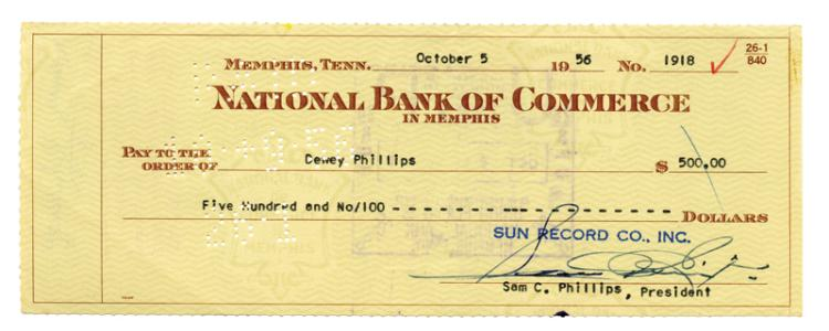 Sun Record Co. Check to Dewey Phillips for $500 (10/5/56) Signed by Sam Phillips and Dewey Phillips