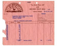 1954 Sun Records Credit Memo Listing Sun 209