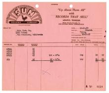 1958 Sun Records Invoice for 25 Copies of Sun 283 Johnny Cash's