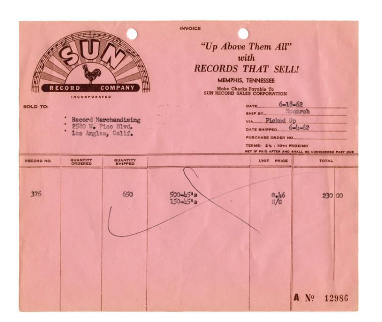 1962 Sun Records Invoice for 650 Copies of Sun 376 Johnny Cash's
