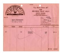 1962 Sun Records Invoice for 650 Copies of Sun 376 Johnny Cash's