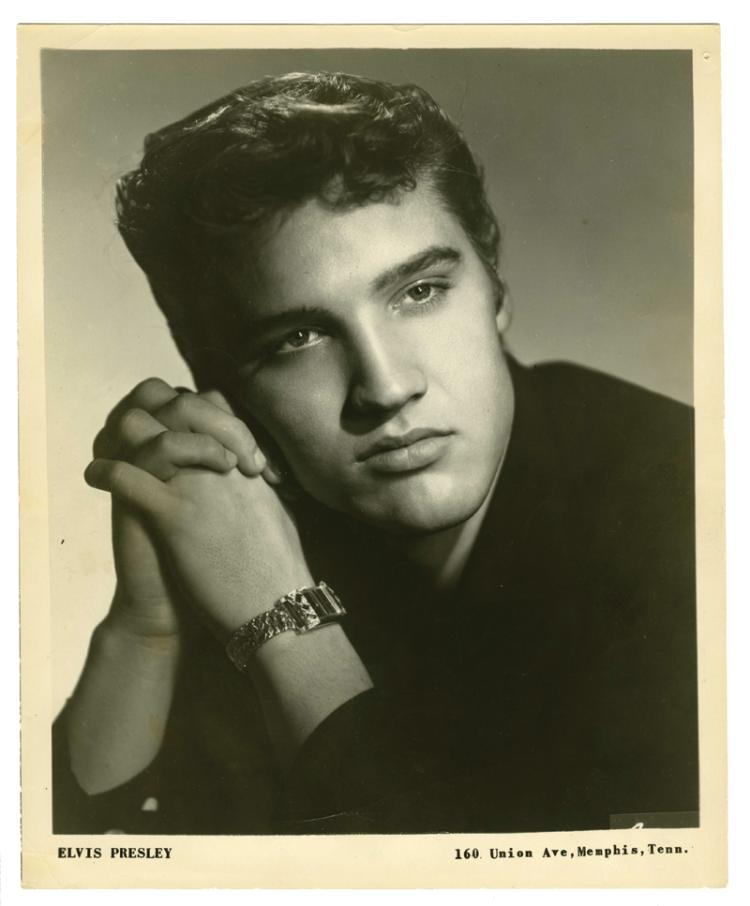 1955 Elvis Presley Signed Black-and-White Sun Records Promo Glossy Photo