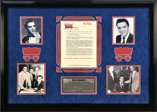 1955 Earliest Known Elvis Presley Press Release from both Colonel Parker and Bob Neal - In Beautiful Framed Display