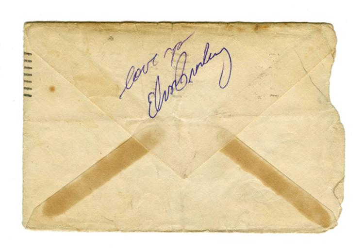 1955 Elvis Presley Signed Envelope from the Big D Jamboree at the Sportatorium in Dallas, TX