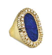 Elvis Presley Gold and Diamond Ring with Large Lapis Lazuli Stone Gifted to Charlie Hodge