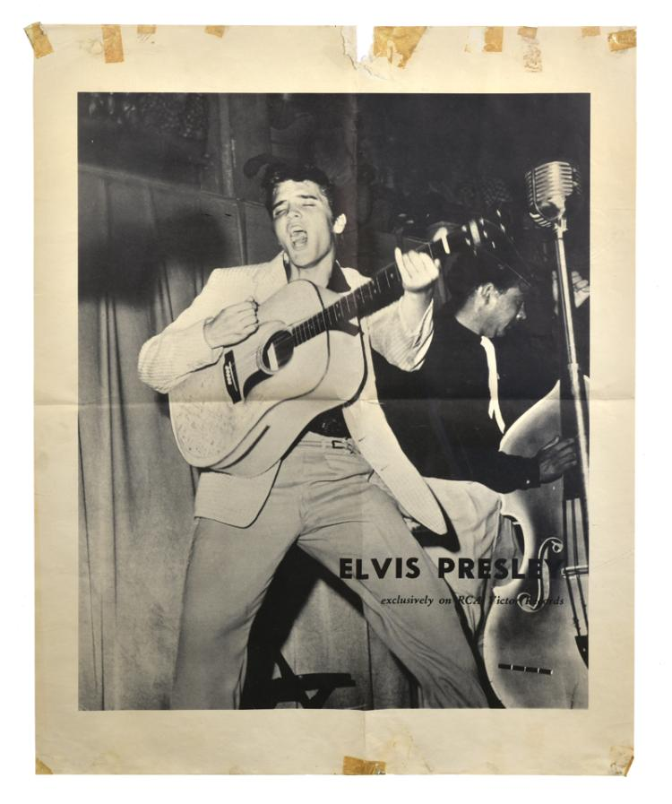 Extremely Rare 1956 Elvis Presley RCA Victor Records Poster - with Image from His First RCA LP Elvis Presley