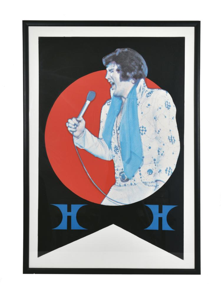 1975-76 Elvis Presley Las Vegas Hilton Summer Festival Concert Banner in Framed Display