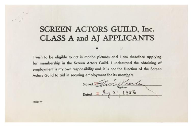 1956 Elvis Presley's Signed Application for Screen Actors Guild