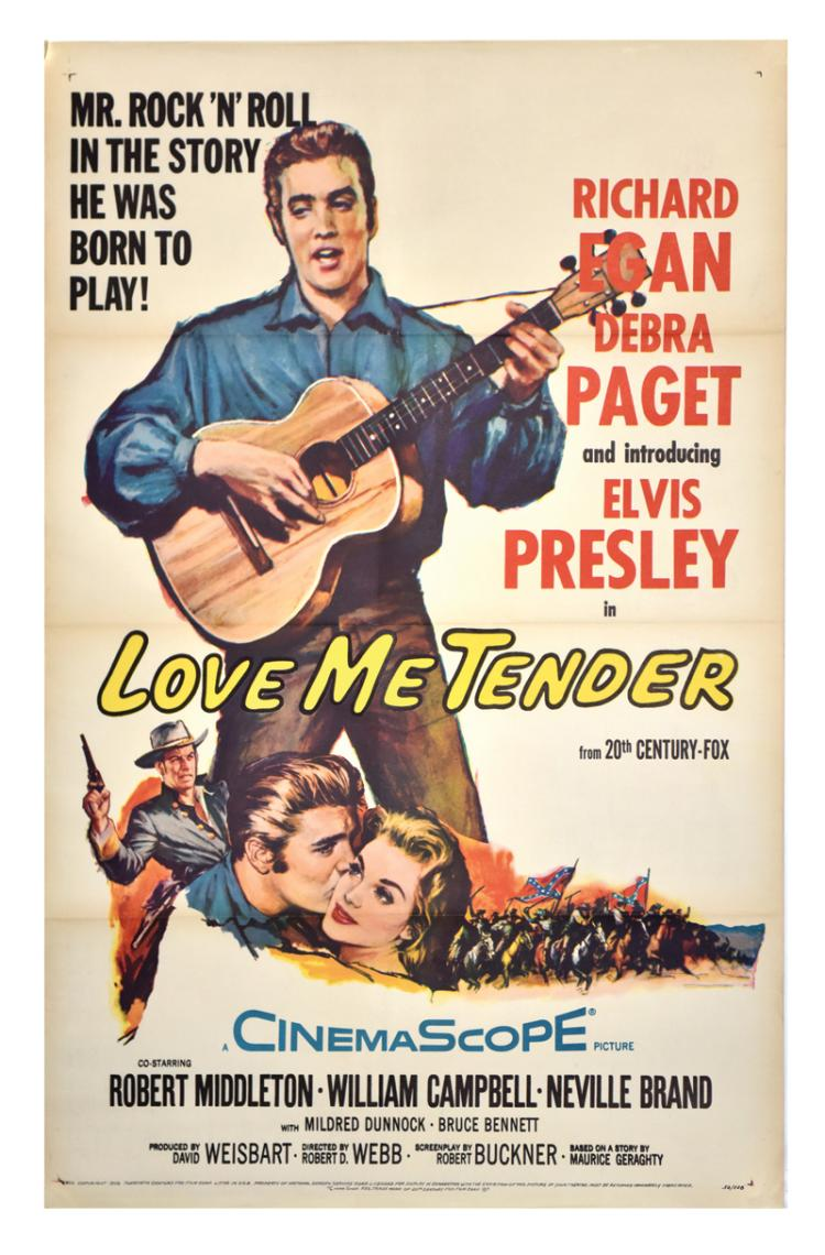 Collection of Four Key Elvis Presley One-Sheet Movie Posters, Including <em>Love Me Tender</em>, <em>King Creole</em>, <em>G.I. Blues</em> and <em>Blue Hawaii</em>