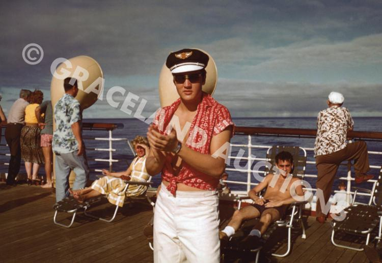 Pair of Stunning 1957 Unpublished Images of Elvis Presley Aboard the USS <em>Matsonia</em>